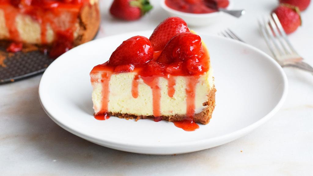 免烤草莓芝士蛋糕,酸酸甜甜入口即化🍰