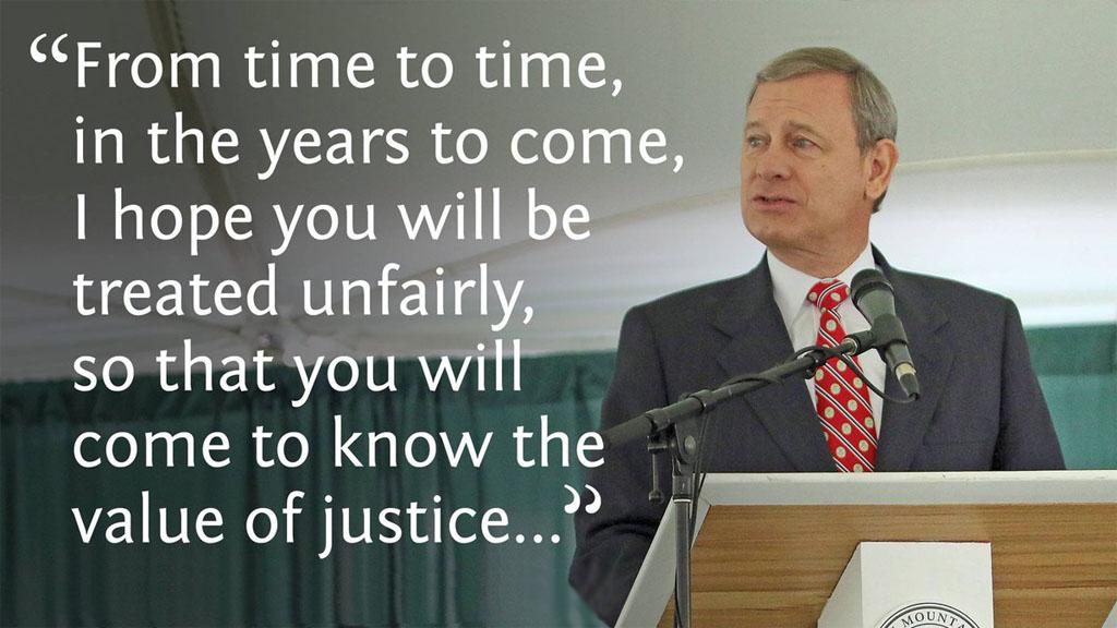 美国首席大法官反鸡汤演讲:我希望你们遭遇不幸